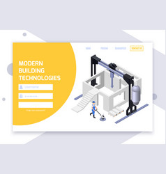 Cement production login page vector
