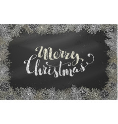 Chalk christmas horizontal frame of branches with vector