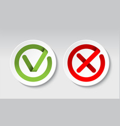 Check mark and cross mark buttons vector