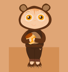 Child wearing a teddy bear costume vector