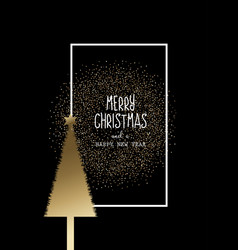 christmas background with gold tree and glitter vector image