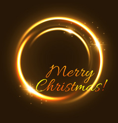 christmas light greeting card of glowing circle vector image