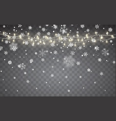 christmas snow falling white snowflakes on dark vector image