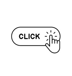 click here button with hand icon vector image