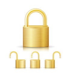 closed lock security gold set icon isolated on vector image