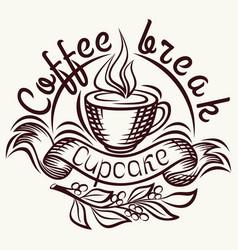 Coffee break painted hand vintage style poster vector