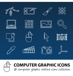 computer graphics outline icons vector image