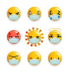 coronavirus protection medical mask emoticon vector image