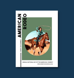 Cowboy poster design with woman horse rope desert vector