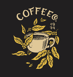cup coffee with leaves logo and emblem vector image