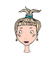 Cute blonde girl head with ponytail young female vector