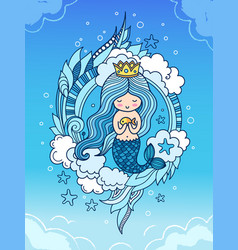 cute little mermaid with fish crown and long blue vector image