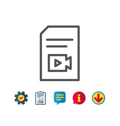Document with video line icon vlog file sign vector