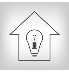 Eco house with solar battery as energy source vector image