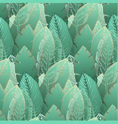 elegant pattern with tender green tropical leaves vector image
