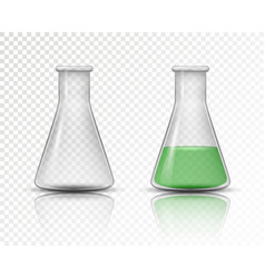 empty and filled flask for chemical lab vector image