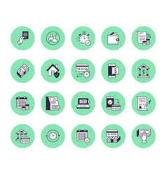 finance money loan flat line icons set quick vector image