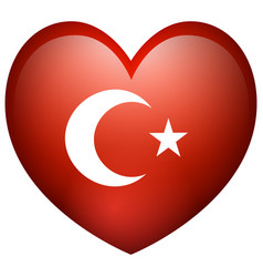 Flag of turkey in heart shape vector