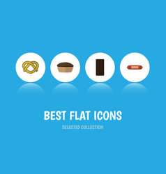 Flat icon meal set of kielbasa confection tart vector