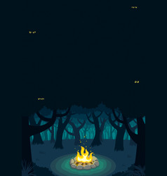 Forest campfire poster vector