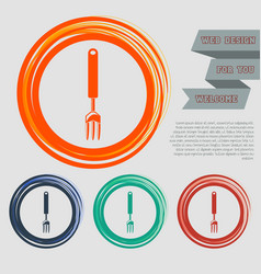 fork icon on the red blue green orange buttons vector image