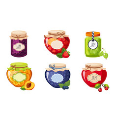 fruit and berries jam jar glasses set strawberry vector image