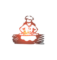 girl cook roll dough food concept hand drawn vector image