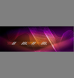 glowing neon abstract lines techno futuristic vector image