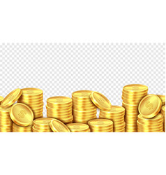 gold coins stack realistic golden coin money pile vector image