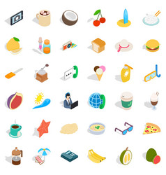 Good breakfast icons set isometric style vector