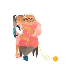 Granddaughter hugging her grandmother flat vector