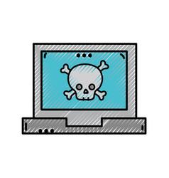 Grated dancer skull bones caution inside laptop vector