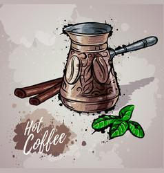 Hand drawn coffee turk or hot chocolate vector