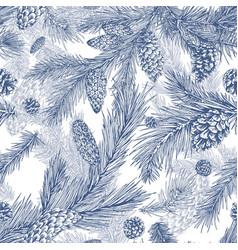Hand drawn seamless pattern with fir pine cedar vector