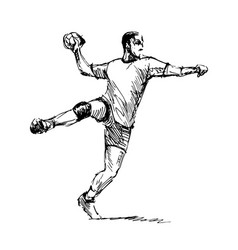 hand sketch handballman vector image