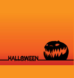 happy halloween text banner and pumpkin head vector image