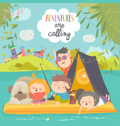 happy kids riding on raft on lake little vector image