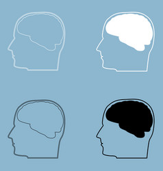 Head with brain the black and white color icon vector