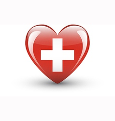 Heart-shaped icon with flag of Switzerland vector image