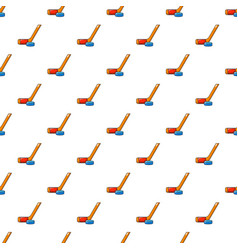 Hockey stick and puck pattern seamless vector