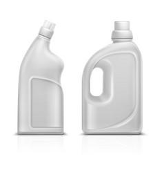 Household chemical blank 3d plastic white bottles vector