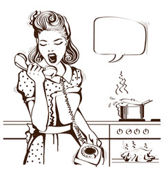 housewife shouting on the phone in the kitchen vector image