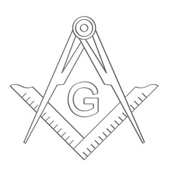 Icon with masonic square and compasses vector
