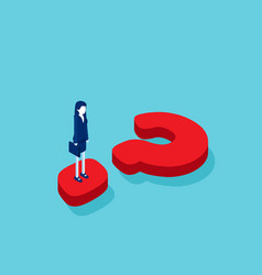 isometric businesswoman standing on question mark vector image