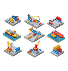 Isometric sea port elements set vector