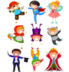 kids in costumes vector image