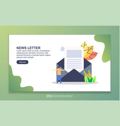 landing page template news letter modern flat vector image
