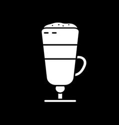 Latte macchiato dark mode glyph icon vector