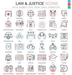 Law and justice ultra modern color outline vector