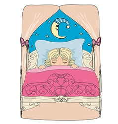 little girl dreaming vector image